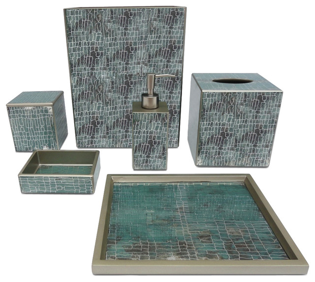 Waylande gregory aqua crackle bathroom set bathroom for Blue crackle glass bathroom accessories