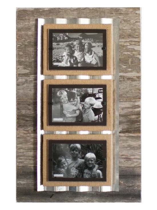 """Reclaimed Wood & Corrugated Frame - Triple - A real triple threat! The reclaimed, weathered wood frame is a sizable 15"""" x 23"""" and has the addition of a narrower slat of corrugated metal on which the three burlap wrapped frames sit. Triple the texture and depth! Can be hung either horizontally or vertically and the corrugated metal is available in your choice of unfinished silver or black. Holds three 4"""" x 6"""" photos in our unique clamping system."""