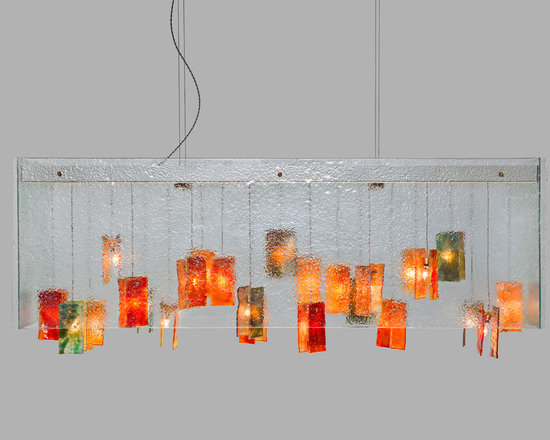 Galilee Lighting - ceiling lighting - The Beautiful exotic colors glass pendants chandelier with our art fused glass is a real peace of art.