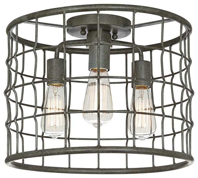 "Dunmore Industrial Cage 15"" Wide Galvanized Ceiling Light Farmhouse"