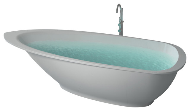 ADM Matte White Stand Alone Resin Bathtub contemporary-bathtubs