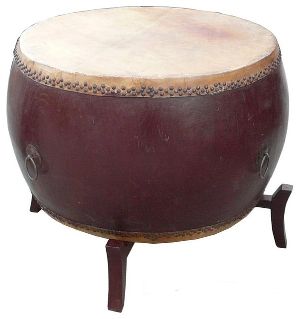 Chinese Brown Lacquer Drum Shape Table - Asian - Side Tables And End Tables - by Golden Lotus ...