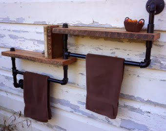 Reclaimed Wood amp Pipe Wall Shelf And Towel Rack