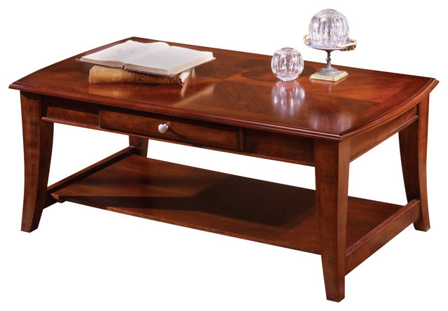 Steve silver hamilton 48x26 cocktail table in cherry for Modern cherry coffee table