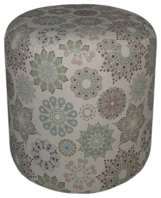 Home Decor Seasonal Gift Round Padded Kaleidoscope Patterned Wooden Ottoman contemporary-footstools-and-ottomans