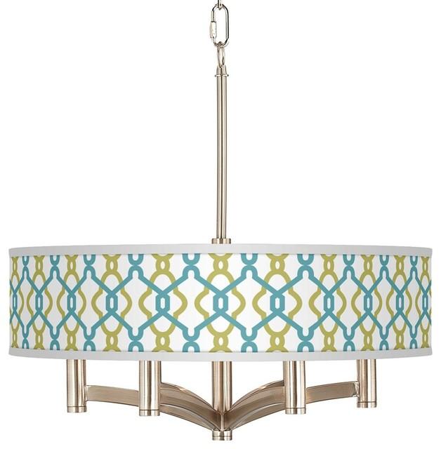 Coastal Hyper Links Ava 6-Light Nickel Pendant Chandelier contemporary-chandeliers
