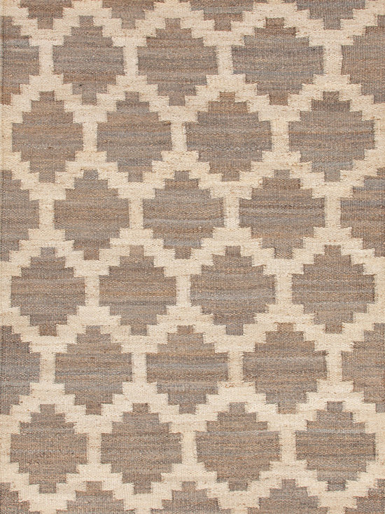 Feza Medium Grey Rug - A simple pattern in a combination of grey and cream, are used to create this chunky woven jute rug. Hardy and durable these fringed rug enhance both rustic and modern home environments. This product is eco-friendly, contains hemp, and is made in India.