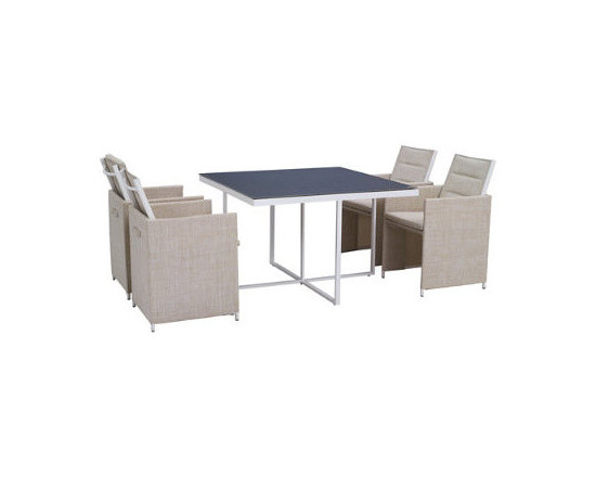 Grandin Road - Sea Bass Outdoor Dining Set - Outdoor dining set consisting of table and 4 chairs. Aluminum and textilene table construction for long-lasting wear. Slate-blue glass tabletop. Fabric chairs in beige. Chairs fold down, when not in use, and can be tucked around the table to form a cube. Bring a modern, industrial style to your outdoor dining area with the Sea Bass Outdoor Dining set. The chairs square off and reinforce the geometric configuration of the slate-blue glass table, with its minimalist crossbar support. Go even more minimalist, when the evening is over: chairs fold down and tuck around the table to form a compact cube.  .  .  .  .  . Arrives ready to enjoy . Imported.
