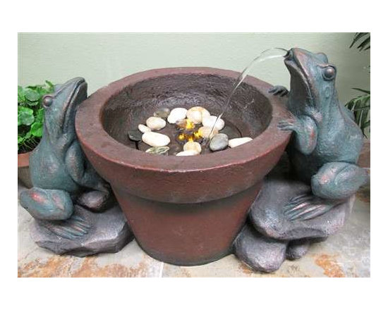 "23"" Bronze Frog Water Fountain - These two bronze finish frogs stare into a fountain with underwater lighting in a gardening pot. Made of durable poly resin. Includes pump, LED underwater light and pebble stone."