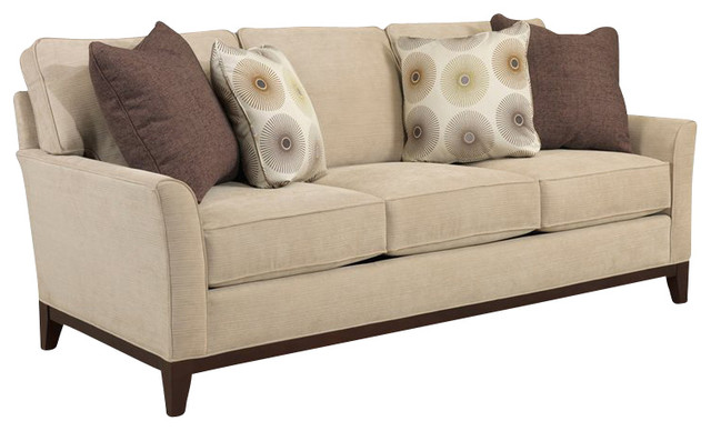 Broyhill Perspectives Three Seat Beige Sofa with Cognac Wood Finish transitional-sofas