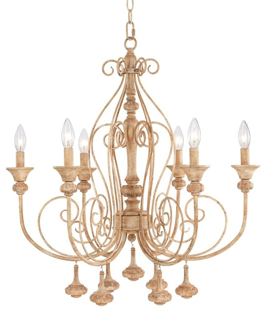 """Traditional Kingston 26"""" Wide Aged Beige Chandelier traditional-chandeliers"""