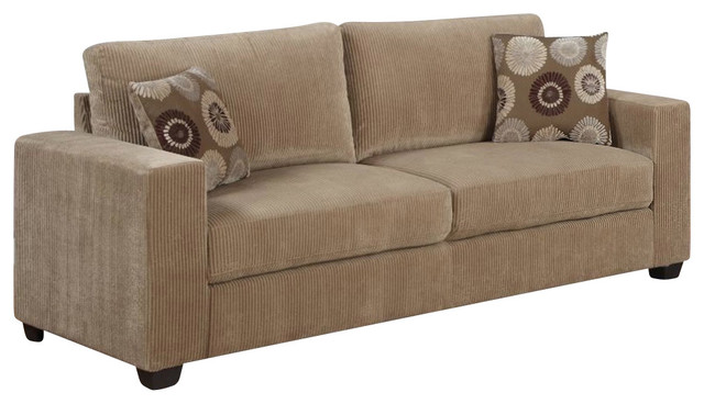 Homelegance paramus sofa with 2 pillows in neutral tone for Brown corduroy couch