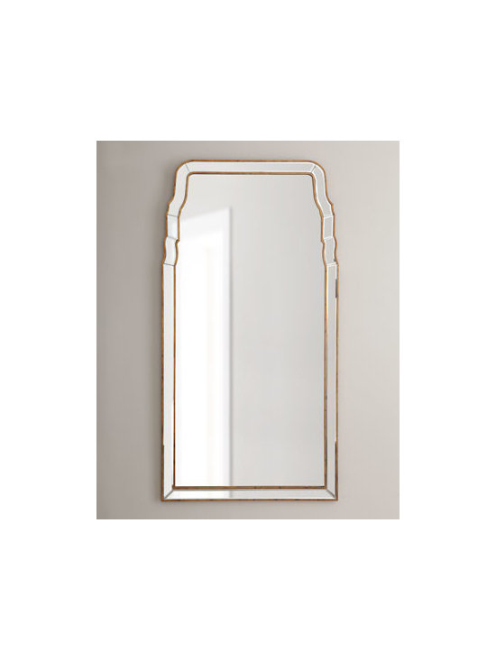 """Horchow - Queen-Anne-Style Mirror - Two golden lines form the simple yet elegant framework for this classic Queen-Anne-style mirror. Made of wood composite and mirrored glass. Hand-painted finish. 26""""W x 1""""D x 50""""T. Imported. Boxed weight, approximately 30 lbs. Please note that...."""