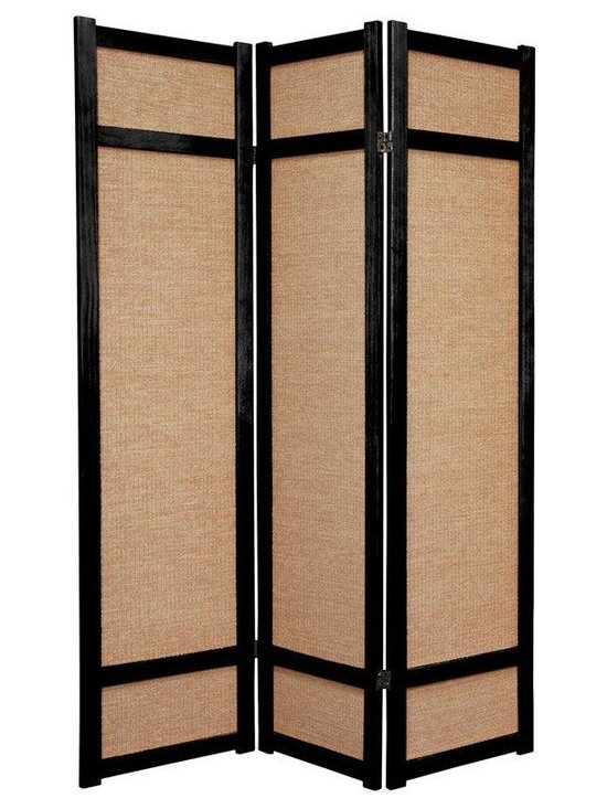 Room Dividers & Folding Screens - traditional Japanese shoji screen, with woven jute panels. A great choice where the white paper of traditional style shoji room divider screens may not fit with the decor.