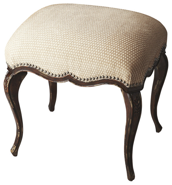 Michelline Tobacco Leaf Vanity Stool Traditional  : contemporary bedroom benches from www.houzz.com size 594 x 640 jpeg 114kB