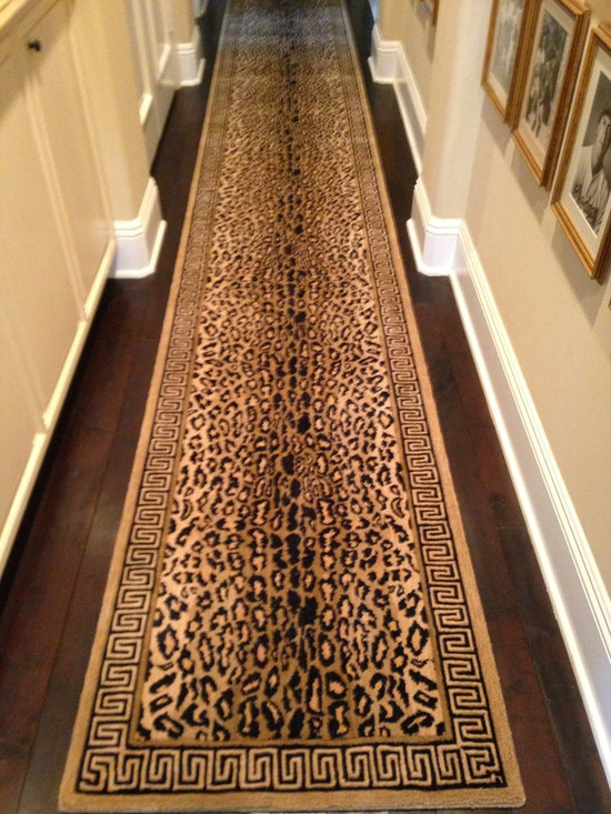 "Portfolio - Fabulous Leopard runner made of 100% New Zealand wool with a Greek key border.  Offered in any length and is 2'6"" wide.  Also offered in area rugs and wall to wall carpet.  Purchase at Hemphill's Rugs & Carpets Orange County, CA www.RugsAndCarpets.com"