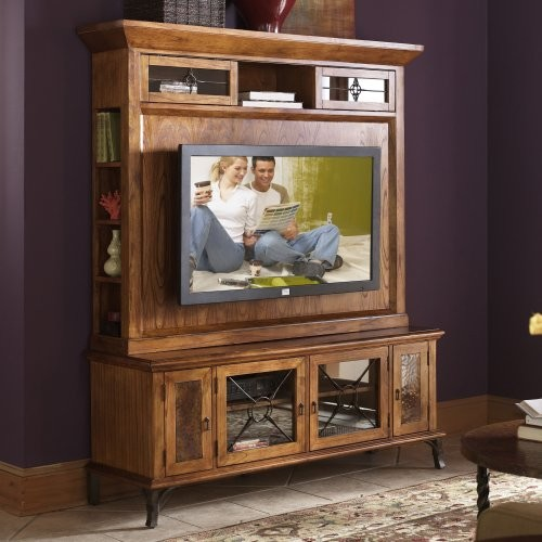 Riverside Medley Camden Glass and Copper Inlay Center Mount TV Console with Deck traditional-media-storage