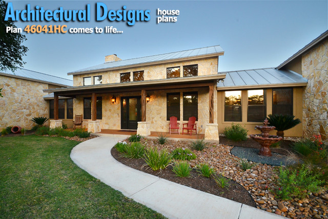 Architectural Designs Hill Country Home With Massive Porch