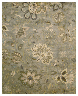silver rug, floral,