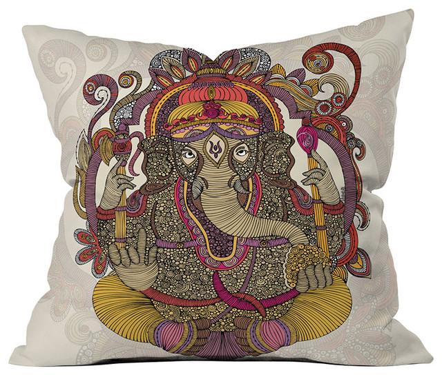 DENY Designs Valentina Ramos Lord Ganesh Throw Pillow eclectic-decorative-pillows