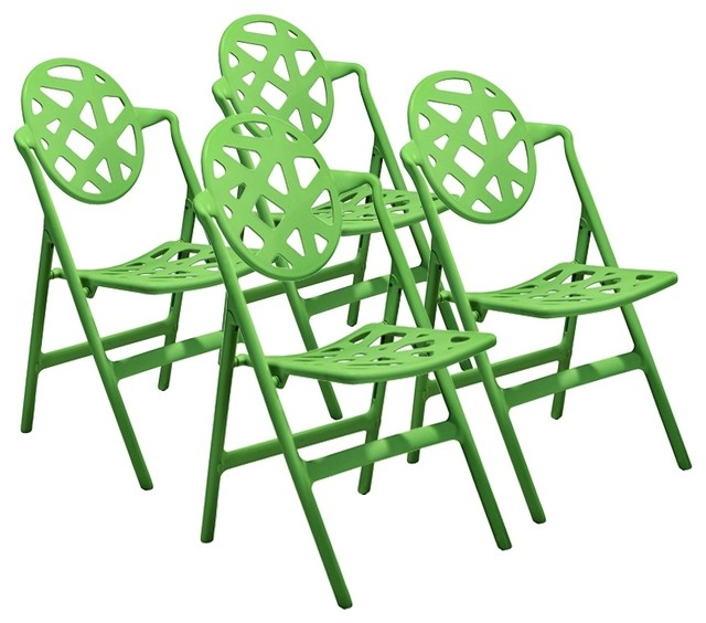 Set of 4 Zuo Meringue Green Outdoor Folding Chair contemporary outdoor chairs