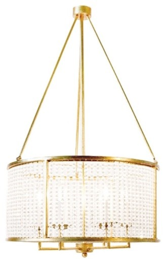 Worlds Away Gold Leaf With Crystal Shade Chandelier contemporary-chandeliers