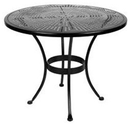 """Bistro 36""""Rd. Stamped Metal Dining Table With 2"""" Umbrella Hole eclectic-outdoor-tables"""