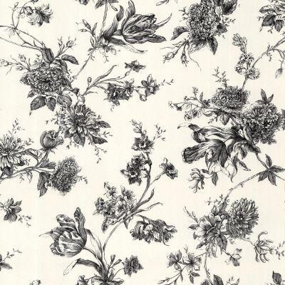 Black and White Large Floral Wallpaper traditional wallpaper