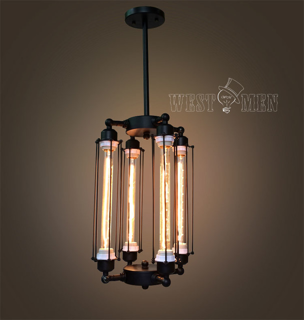 Wall Hanging Tube Light : Tube cage Edison bulb chandelier 4 lights lobby hanging mid century chandeliers - Industrial ...