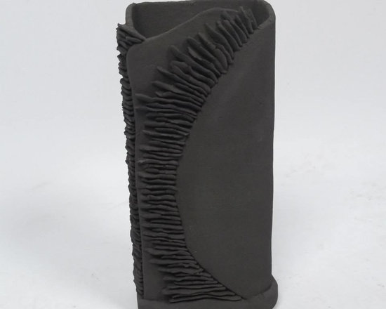 Beauty is in the Eye... - Unglazed medium black stoneware rectangular textured vessel, not suitable to hold liquids