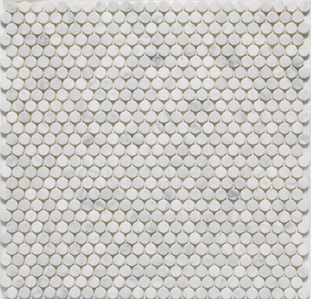 Penny Round Mosaic tiles traditional-tile