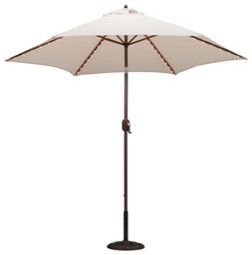 9-foot Aluminum Thermometer/Lighted Umbrella with Crank and Tilt modern-outdoor-umbrellas