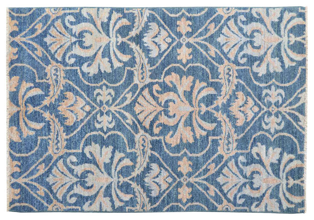 Hand Knotted Rug Denim Blue Ikat Uzbek Design Sh11784 transitional-rugs