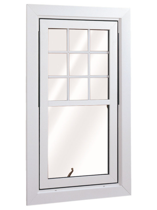 Flip & Wash Windows - Wellington Flip and Wash Window in a Double Hung style; shown in White with grids.