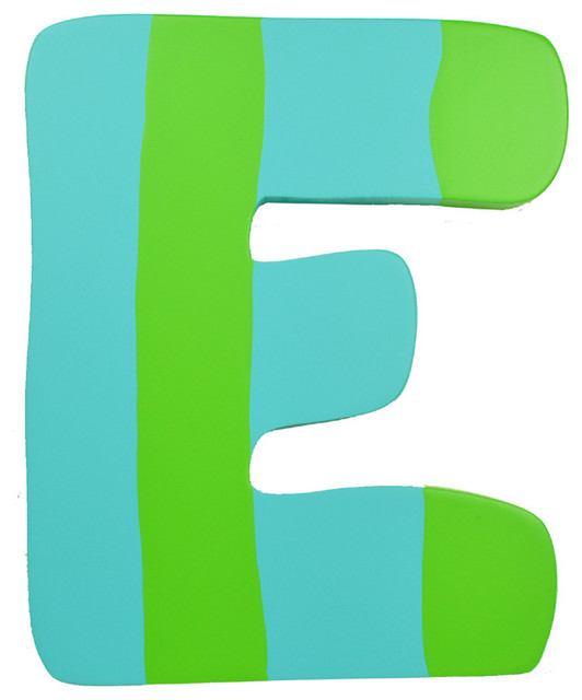 Green & Blue Stripe Wall Letter - E - Modern - Wall Letters - by ...