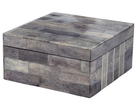 "Lazy Susan - Gray and White Bone Box - A graphic pattern of winter strips over warm grays from genuine bone creates this exquisite box. The elegant color combination looks stunning on a console or dresser. Measures 6.25""square x 3""h."