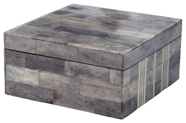 Decorative Bone Boxes : Gray and white bone box contemporary decorative boxes