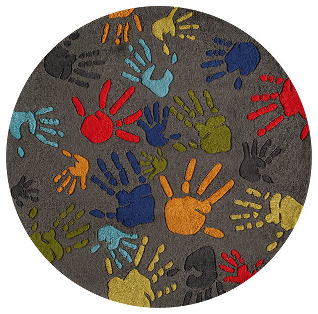 Lil mo whimsy polyester hand tufted rug grey 5 39 x5 for Round rugs for kids