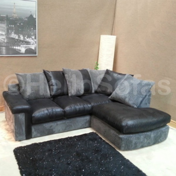 Gattsby black leather with fabric chaise sofa modern for Black leather sectional sofa with chaise