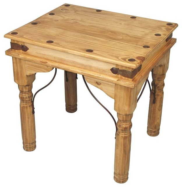 Traditional Pine Coffee Table: Mexican Pine End Table With Wrought Iron