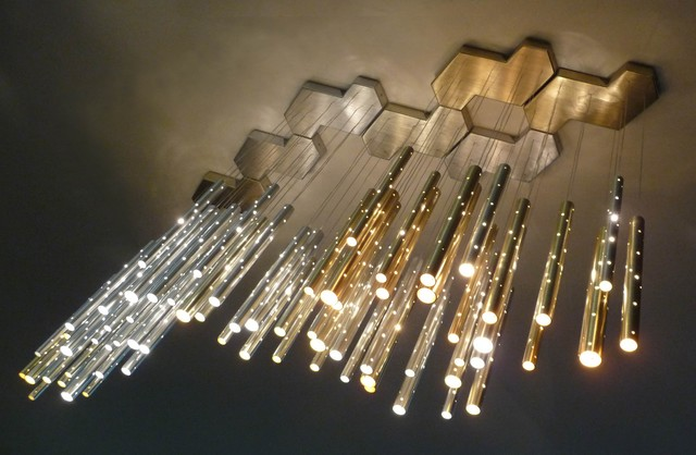 Rain 7 clouds chandelier 70 drops modern chandeliers for Contemporary chandeliers and pendants