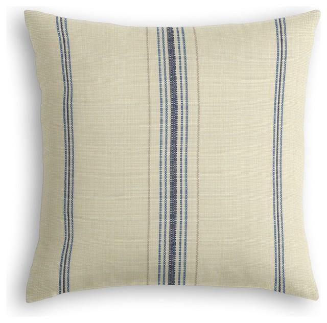 Blue Feedsack Style Cotton Stripe Custom Throw Pillow