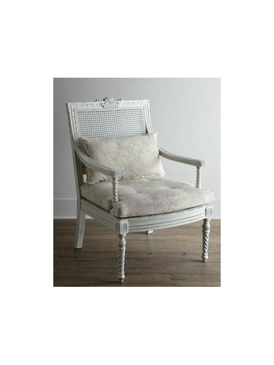 """Shabby Chic - Shabby Chic """"Landen"""" Parlor Chair - Don't have a parlor? Doesn't matter! With its cane back, hand-carved frame, barley-twist accents, back-support cushion, and neutral coloration, this impressive chair provides classic seating anywhere you need it. Handcrafted of solid mahogany with can..."""