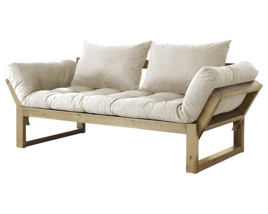 Fresh Futon - Edge Convertible Futon Sofa/Bed, Natural Frame, Natural Mattress - Beautifully simple, the Edge is a modern futon that is sure to add style to any space with two pillows and sturdy nordic pine frame that converts to three comfortable position, loveseat sofa, mattress, and chaise lounge/daybed. Available in black and natural frames with 9 twill fabric color options.