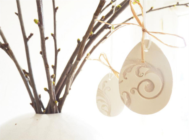 French Easter ornaments-Set of 3, white ceramic, pearl painted. modern-christmas-ornaments