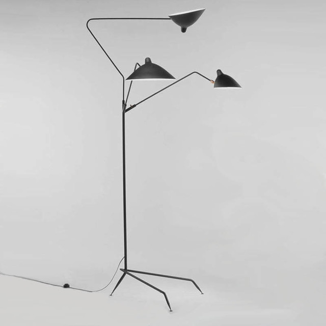 Serge mouille 3 arm standing lamp modern floor lamps Serge mouille three arm floor lamp