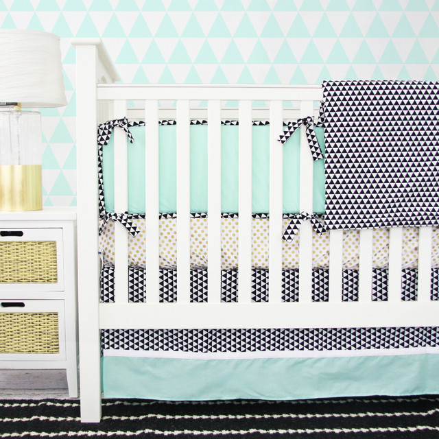 Eclectic Mint and Gold Crib Bedding, 2pc Set transitional-baby-bedding