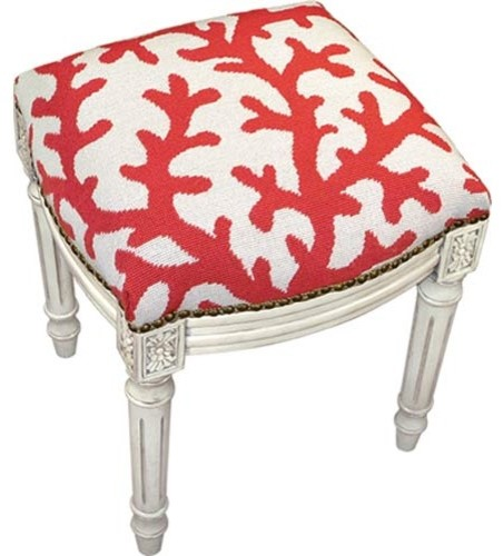 Red Coral Needlepoint Stool tropical ottomans and cubes