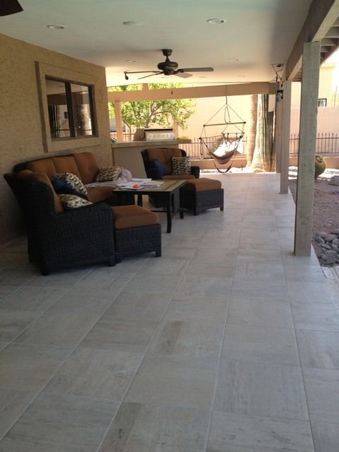Complete Contemporary Remodel with Italian Porcelain Floors traditional-patio
