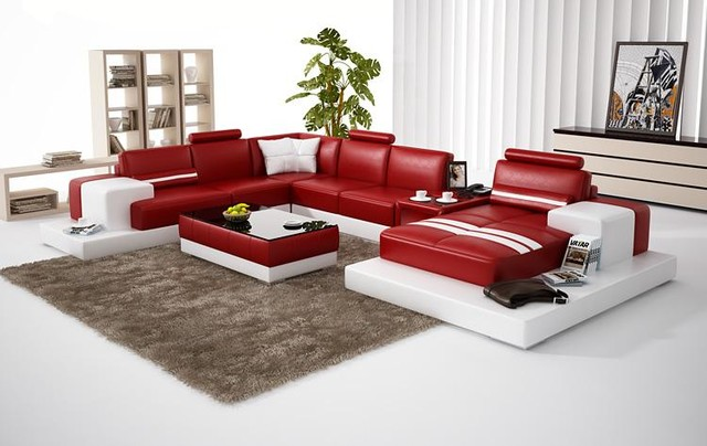 Red And White Bonded Leather Sectional Sofa With Chaise Modern Living Roo